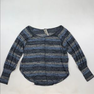 Free People Blue Gray Striped Sweater